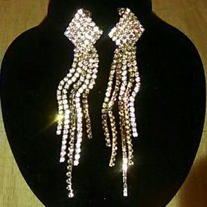 Jewelry - Elegant Gold Rhinestone Pageant Earrings